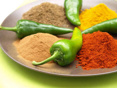 Closeup of plate with heaps of indian spice Stock Photo - 14739756