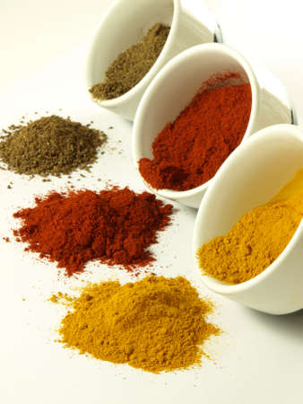 Bowls of hot and colorful indian spices photo