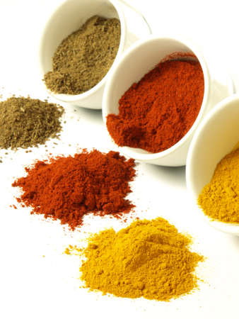 Indian ground spices: cumin, turmeric and pepper