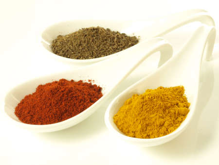 Indian flavors: cumin, turmeric and mild pepper Stock Photo - 14739799