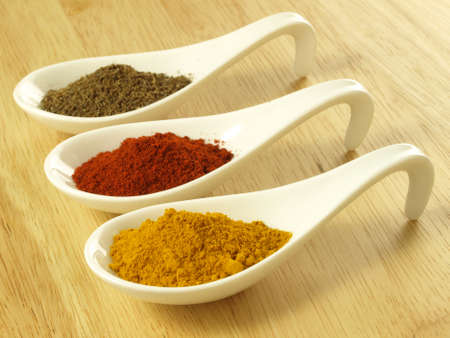 red chilli: Indian cuisine additions: cumin, turmeric and pepper Stock Photo