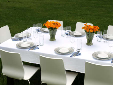 Elegant laid table for a garden party Stock Photo