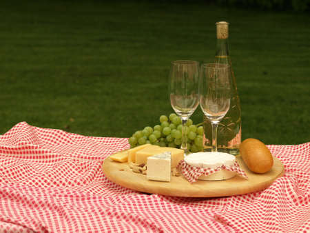cheeseboard: Blanket on a grass with cheeseboard and vine