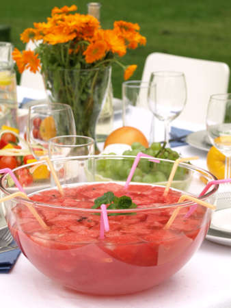 Bowl of watermelon punch on garden party photo