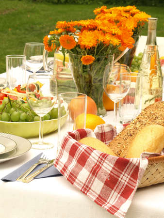 open air: Laid table for feast in the open air Stock Photo