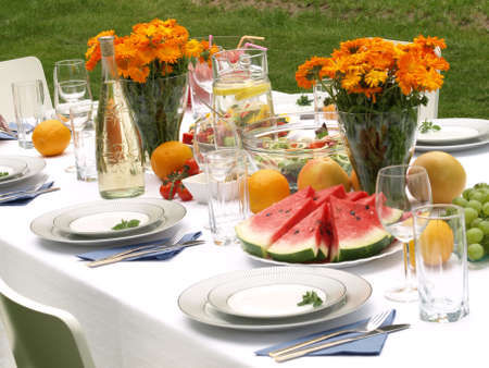 outdoor event: Table ready for party in a garden