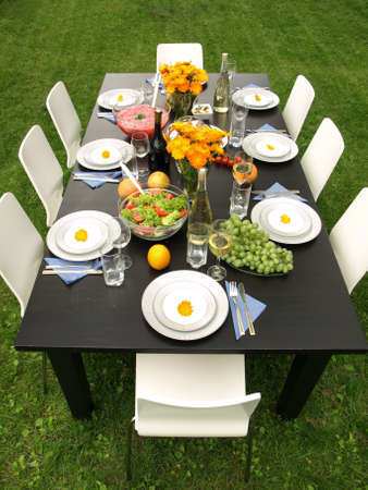 plate setting: Party in garden on a green grass Stock Photo