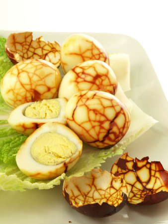 albumin: Chinese tea eggs and the eggshells on plate