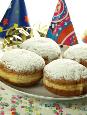 castor: Sweet donuts with castor sugar for shrovetide Stock Photo