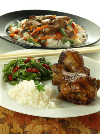 Chicken, rice and chinese vegetable salad, closeup photo