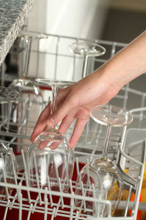 Putting dirty wine glasses into a dishwasher photo