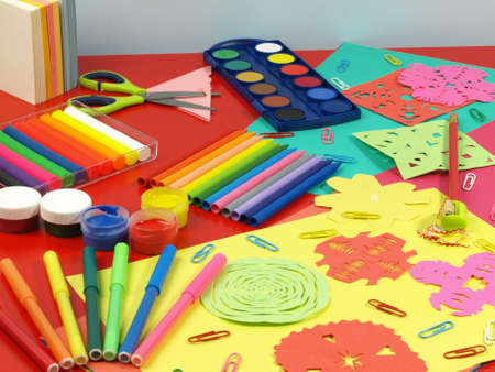 place for children: S Los ni�os material escolar