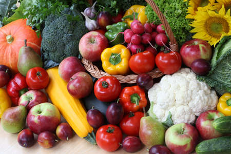 Closeup of colorful vegetables on market stall photo