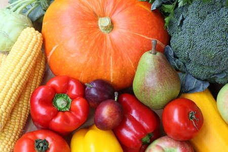 Closeup of vegetable stall on market, pumpkin photo