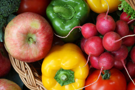 Closeup of colorful vegetables and fruits, bird eye view photo