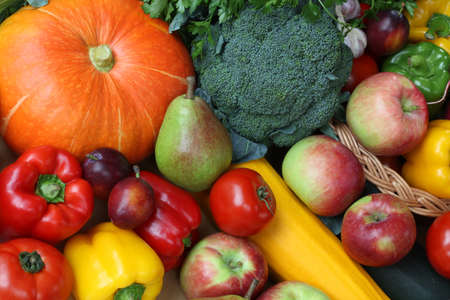 bird eye view: Bird eye view of vegetables and fruits Stock Photo