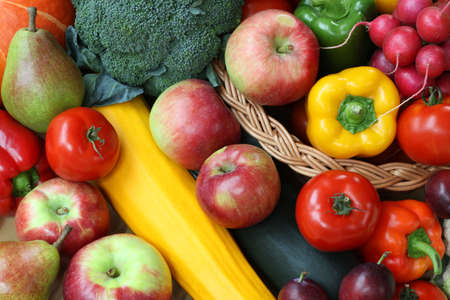 Closeup of fruits and vegetables, background, wallpaper photo