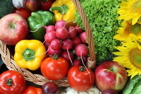 market stall: Closeup of colorful vegetables and fruits, food ingredient