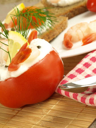 stuffed fish: Dessert with tomatoes,prawns and yogurt Stock Photo