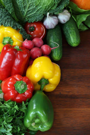bell peppers: Background with closeup of vegetables and fruits