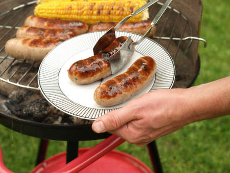 Portion of two grilled sausages, barbecue party photo