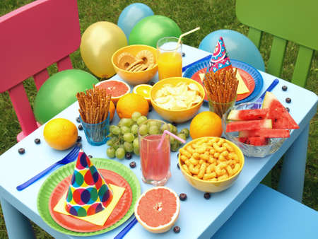 Summer garden party for a children, balloons photo