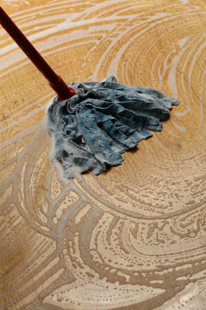 Detailed housework, cleaning wooden floor by mop photo