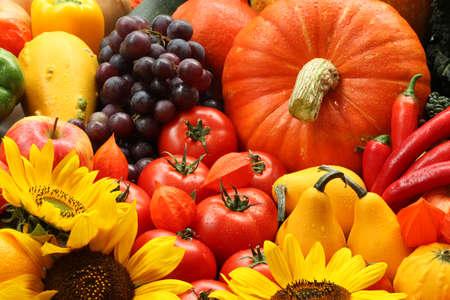 fruit salads: Heap of autumn veggies, fruits and flowers Stock Photo