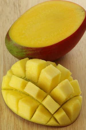 Closeup of cut mango fruit, original pattern photo