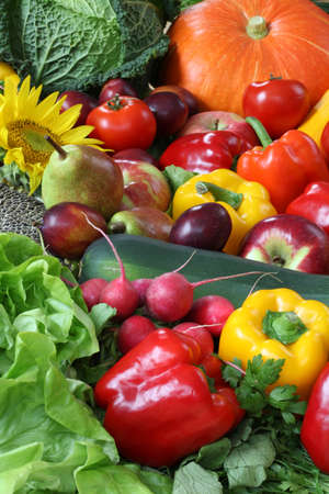 fruit and vegetables: Heap of veggies and fruits for wallpaper Stock Photo