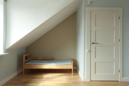 Blue new children bedroom on the attic, bed Stock Photo - 15530080