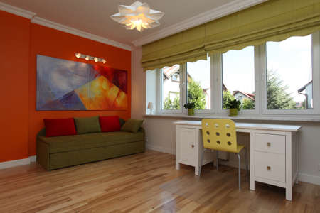 a blind: Colorful teenage room in a modern style