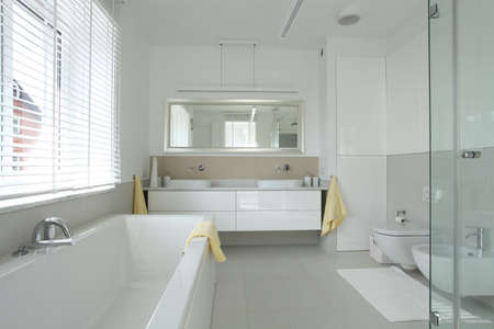well equipped: Bathroom interior in modern and stylish house