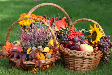 Trois paniers en osier avec des fruits, des feuilles et des fleurs