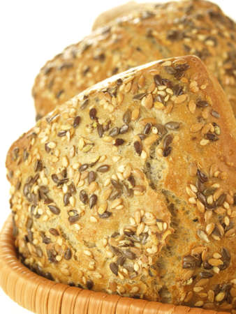 Close up of fresh crunchy wholemeal rolls photo