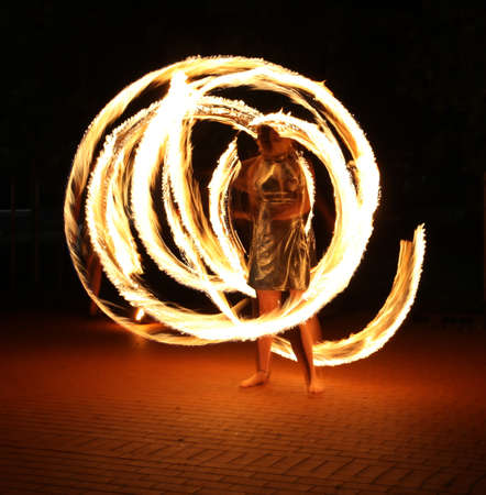 fire show: Performance with fire flames and professional dancer