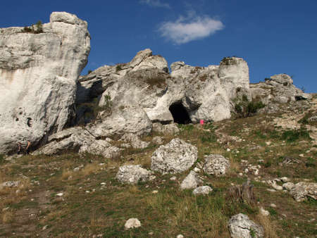 Limestone rocks with a blue sky background photo