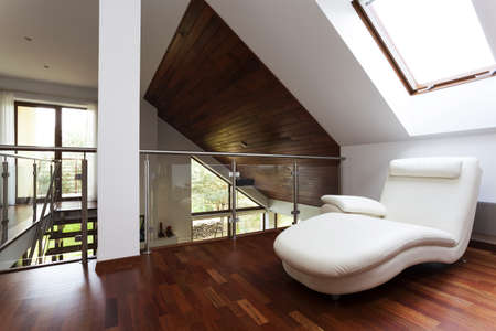 visualisation: Wooden attic with corner for rest, stylish mezzanine Stock Photo