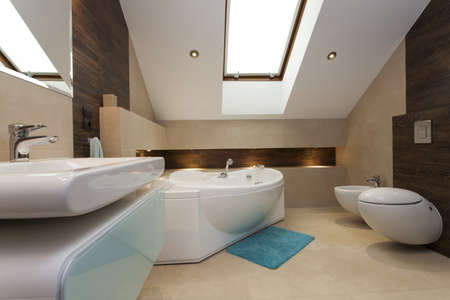 Interior of contemporary bathroom with huge bathtub photo