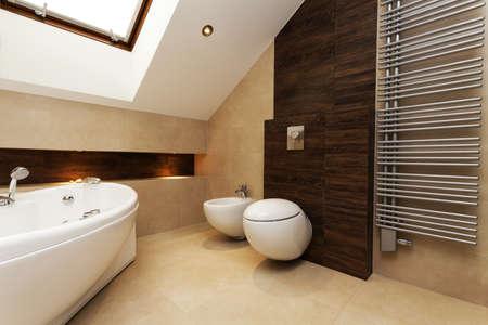 Toilet, bidet and huge washtub in stylish bathroom