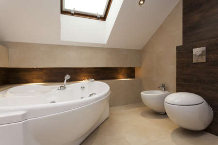 Modern bathroom with bath, bidet and toilet photo