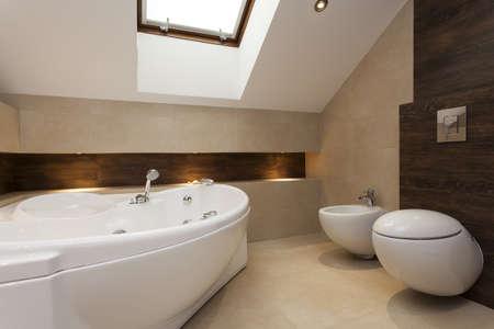 bidet: Modern bathroom with bath, bidet and toilet