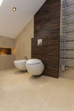 Toilet and bidet in beige and brown bathroom photo