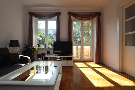 Living room with window and balcony, nobody Stock Photo - 15810595