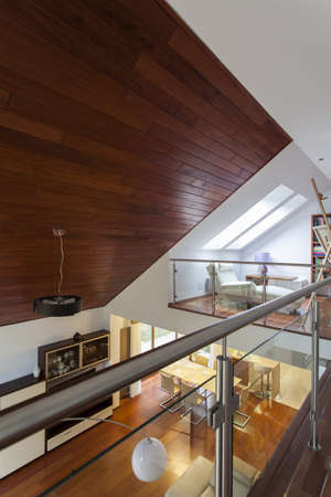 Contemporary architecture with entresol and wooden ceiling photo