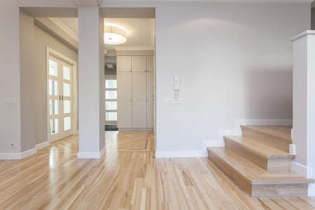 domestic room: Interior of stylish house: corridor, entry, staircase