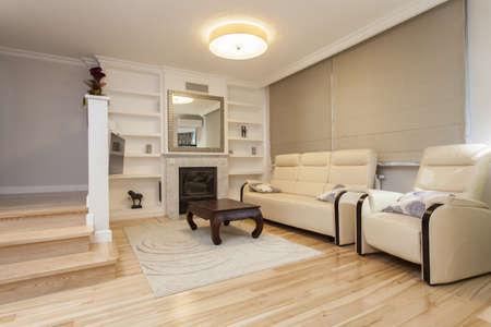 Beige living room in elegant cosy flat Stock Photo - 16119435