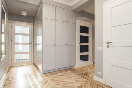 new entry: Gray corridor in modern and elegant house Stock Photo