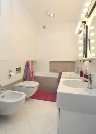 White bathroom with pink towels, rug and additions photo