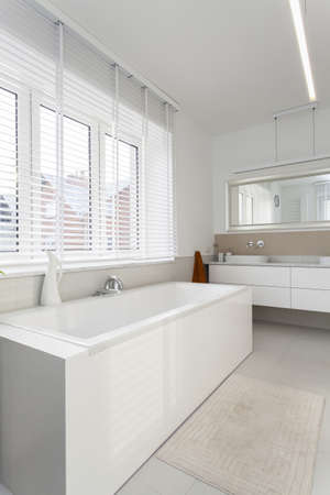 Elegant, plain and white bathroom, interior Stock Photo - 16158871